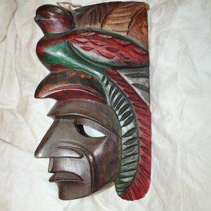 Mayan Wooden Mask Carving Wall Decor